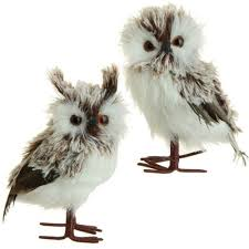 pair 5 5 whimsical brown white feather fuzzy standing owl