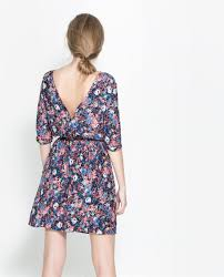 floral dress with buttons at the back dresses trf zara