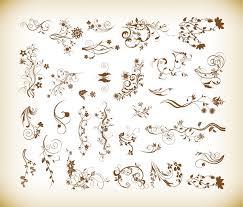 set of vector ornamental floral elements for design free vector