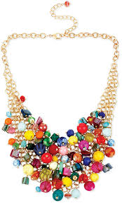 colored bead necklace images Kate spade haskell gold tone multi colored bead cluster frontal jpg