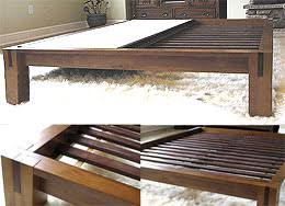 All Wood Bed Frame Tatami Platform Bed Frame In Honey Oak With 15in High Legs