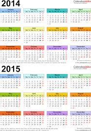 two year calendars for 2014 u0026 2015 uk for excel