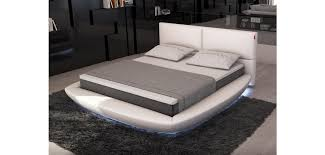 platform bed with led lights sferico round bed in white leather and led lights