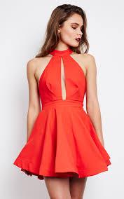 halter neck flared halter neck dress in silkfred