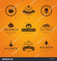 set vintage happy halloween badges labels stock vector 324034277