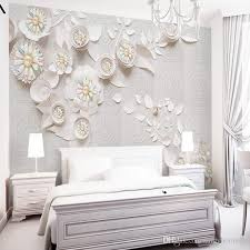Cartoon Wall Painting In Bedroom Nordic Tv Wall Wallpaper 3d Living Room Bedroom Jewelry Flower