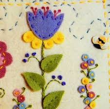 flower felt using back stem running and knot stitches