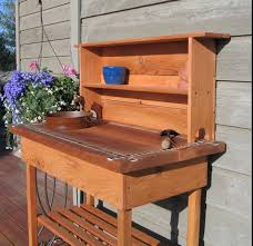 potting tables for sale potting bench faucet sink shelf with blue or brown glass tile