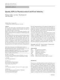 quality kpis in pharmaceutical and food industry pdf download