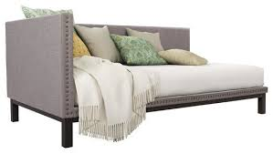 gray linen fabric upholstered mid century modern daybed
