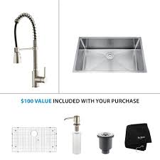 single kitchen sink faucet kraus all in one undermount stainless steel 32 in single bowl