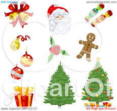 clipart illustration of a collection of xmas icons of bells
