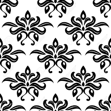 modern foliate black and white arabesque pattern with bold repeat
