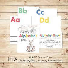 alphabet game baby shower diy abc book 8 5x11 baby u0027s