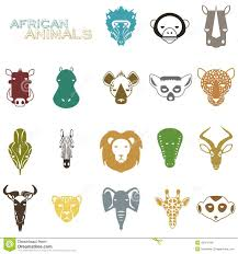 african animal icon color set stock vector image 58837877