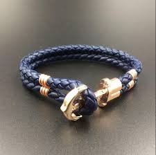 leather bracelet with anchor images Rose gold anchor with brand logo geunine braided leather bracelet jpg
