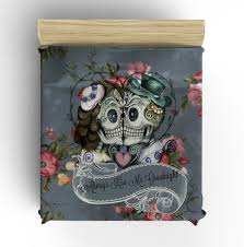 beautiful red rose and teal sugar skull design with by inkandrags