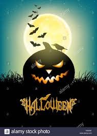 halloween background with moon grass bats angry pumpkin crow