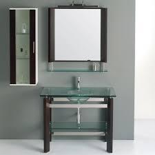 Glass Bathroom Vanity Jjt Trading Vg136 Tempered Glass Bath Vanity