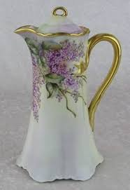 Nippon Hand Painted Vase Moriage Chocolate Pot Romantic Shabby Roses And Lace Chocolate