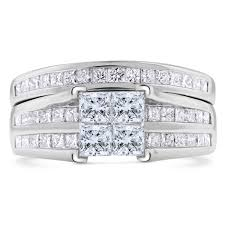 white gold promise rings cut diamond engagement promise ring matching band in 14k white