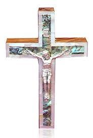 catholic wall crucifix 12cm bethlehem of pearl catholic wall crucifix