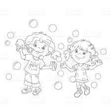 coloring outline girls blowing soap bubbles stock