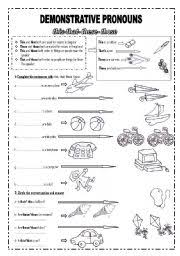 esl worksheets for beginners demonstrative pronouns this that
