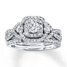 Kay Jewelers Wedding Rings Sets by Jared Diamond Bridal Set 1 1 8 Ct Tw Round Cut 14k White Gold