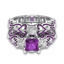amethyst heart rings images 2 in 1 womens purple amethyst diamond 925 sterling silver jpg