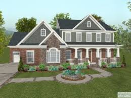 Craftsman House Plans Houses With Brick And Stone Siding Blue Brick House Lrg