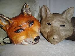 unpainted masks paper mache animal mask fox mask fox costume unpainted mask