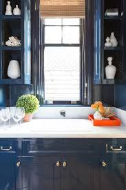 Lacquer Kitchen Cabinets by Glossy Blue Lacquered Kitchen Cabinets With Honed White Marble