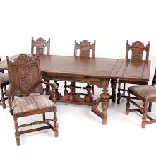 1920s bernhardt dining table and six chairs ebth
