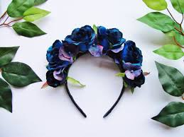 day of the dead headband blue hydrangea flower crown crown wedding bridesmaid