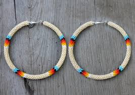 hoop beaded earrings eleumne american beaded hoop earrings peyote