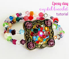 make a crystal embellished bracelet with epoxy clay resin obsession