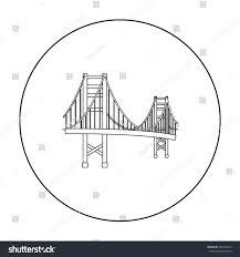 golden gate bridge icon outline style stock vector 584164243