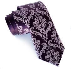 damask necktie eggplant purple silk tie mauve print