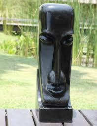 garden sculpture large black easter island statue buy now at