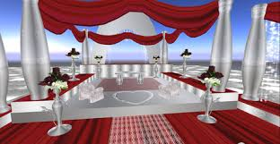 Red And Silver Wedding Second Life Marketplace Lalba Weddings Altar Wedding Dreams