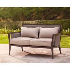 Vintage Brown Jordan Outdoor Furniture by Brown Jordan Greystone Patio Loveseat With Sparrow Cushions
