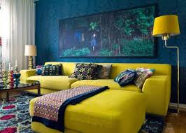 Butter Yellow Sofa A Pale Butter Yellow And Cornflower Blue Living Room With Rich
