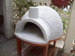 pizza oven cast on gym ball using pumice concrete or refractory