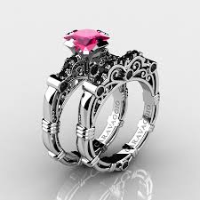 pink and black engagement rings masters caravaggio 10k white gold 1 25 ct princess pink