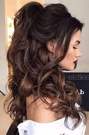 brunette easy hairstyles chic half up bridesmaid hairstyles for long hair bridesmaid