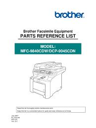 mfc 9840 parts list