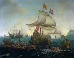 8 dutch ship running down spanish gallyes oil paintings