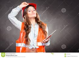woman structural engineer with tablet working stock photo image