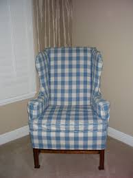 bedroom fascinating white blue plaid pattern wing chair recliner